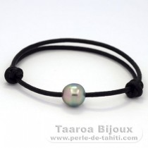 Leather Bracelet and 1 Tahitian Pearl Semi-Baroque C 10.1 mm