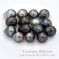 Lot of 15 Tahitian Pearls Ringed C from 8 to 9.9 mm