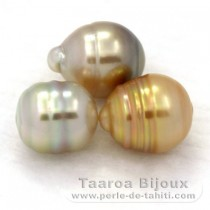 Lot of 3 Australian Pearls Ringed C from 9.1 to 9.8 mm