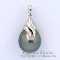 Rhodiated Sterling Silver Pendant and 1 Tahitian Pearl Ringed C 13.1 mm