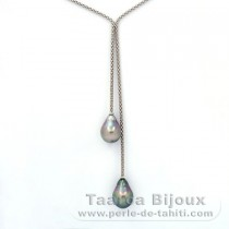.925 Solid Silver Necklace and 2 Tahitian Pearls Semi-Baroque B 10 and 10.2 mm