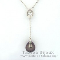 Rhodiated Sterling Silver Necklace and 1 Tahitian Pearl Ringed C 10.2 mm