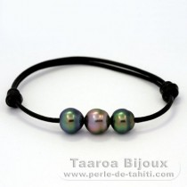 Leather Bracelet and 3 Tahitian Pearls Semi-Baroque B+  8.7 to 8.9 mm