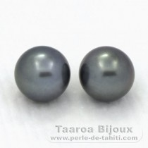 2 Tahitian Pearls Round C 12 mm