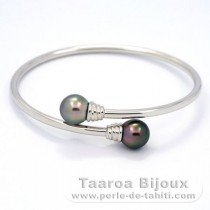 Rhodiated Sterling Silver Bracelet and 2 Tahitian Pearls Semi-Baroque B 9.5 and 9.7 mm