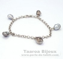 Rhodiated Sterling Silver Bracelet and 5 Tahitian Keishis
