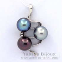.925 Solid Silver Pendant and 3 Tahitian Pearls Semi-Baroque C+  9.5 to 9.8 mm