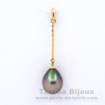 18K solid Gold Pendant and 1 Tahitian Pearl Semi-Baroque A 8.9 mm