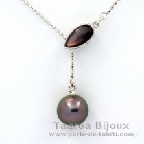 .925 Solid Silver Necklace and 1 Tahitian Pearl Round B 9.3 mm