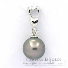 .925 Solid Silver Pendant and 1 Tahitian Pearl Round C 10 mm