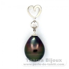 .925 Solid Silver Pendant and 1 Tahitian Pearl Semi-Baroque C 10.5 mm