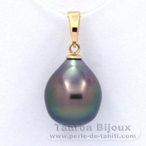 18K solid Gold Pendant and 1 Tahitian Pearl Semi-Baroque B 10.3 mm
