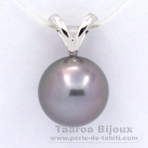 18K Solid White Gold Pendant and 1 Tahitian Pearl Round A 9.8 mm