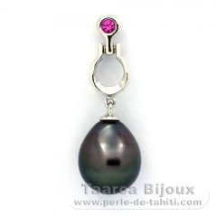 .925 Solid Silver Pendant and 1 Tahitian Pearl Semi-Baroque C 10.8 mm