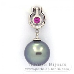 .925 Solid Silver Pendant and 1 Tahitian Pearl Round C 10.2 mm