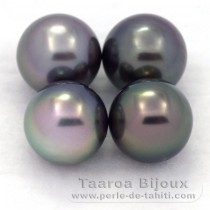 Lot of 4 Tahitian Pearls Round C from 9.1 to 9.4 mm