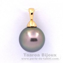 18K solid Gold Pendant and 1 Tahitian Pearl Round A 11 mm