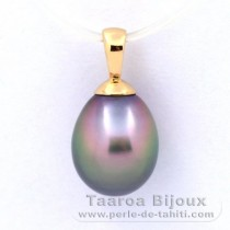 18K solid Gold Pendant and 1 Tahitian Pearl Semi-Baroque A 8.7 mm