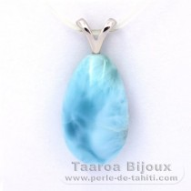 Rhodiated Sterling Silver Pendant and 1 Larimar - 18 x 11 x 7 mm - 2.4 gr