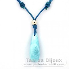 Waxed cotton Necklace + Rhodiated Sterling Silver and 1 Larimar - 25 x 9 mm - 2.9 gr