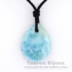 Waxed cotton Necklace and 1 Larimar - 20 x 16 x 5.8 mm - 3.1 gr