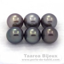 Lot of 6 Tahitian Pearls Round C from 8.7 to 8.9 mm