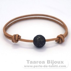 Leather Bracelet and 1 Engraved Tahitian Pearl 11 mm