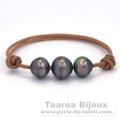 Leather Bracelet and 3 Tahitian Pearls Ringed C  12 to 13.2 mm