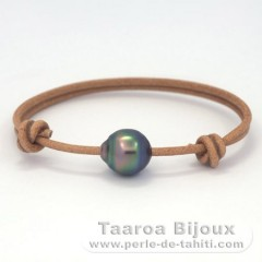 Leather Bracelet and 1 Tahitian Pearl Ringed C 11.5 mm