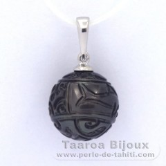 Rhodiated Sterling Silver Pendant and 1 Engraved Tahitian Pearl 12.5 mm