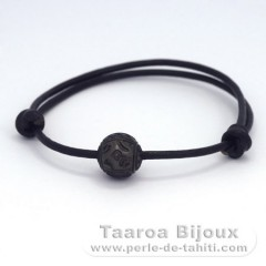 Leather Bracelet and 1 Engraved Tahitian Pearl 11.5 mm