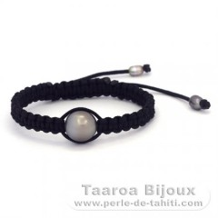 Nylon Bracelet and 1 Tahitian Pearl Semi-Baroque C 11.9 mm + 2 keishis