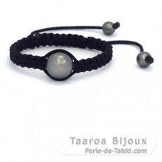 Nylon Bracelet and 1 Tahitian Pearl Round D 13.5 mm + 2 Near-Round 7.5 and 8 mm