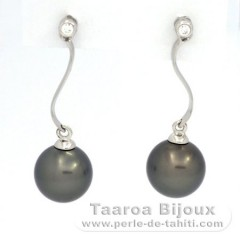Rhodiated Sterling Silver Earrings and 2 Tahitian Pearls Round C 8.1 mm