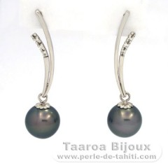 Rhodiated Sterling Silver Earrings and 2 Tahitian Pearls Round C 9.7 mm