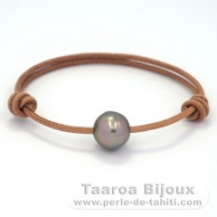 Leather Bracelet and 1 Tahitian Pearl Ringed C 12.7 mm