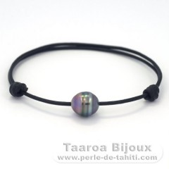 Leather Bracelet and 1 Tahitian Pearl Ringed C 10 mm