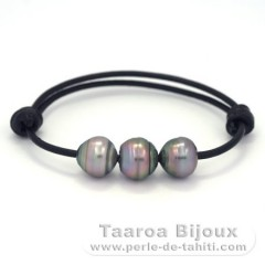 Leather Bracelet and 3 Tahitian Pearls Ringed C 11.5 to 11.8 mm