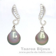 Rhodiated Sterling Silver Earrings and 2 Tahitian Pearls Semi-Baroque A 9.2 mm
