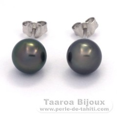 Rhodiated Sterling Silver Earrings and 2 Tahitian Pearls Near-Round B/C 8 mm