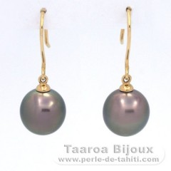 18K solid Gold Earrings and 2 Tahitian Pearls Near-Round B 9.3 mm