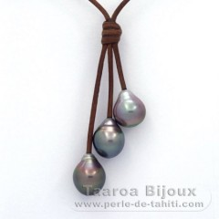 Leather Necklace and 3 Tahitian Pearls Semi-Baroque B  10.1 to 10.3 mm