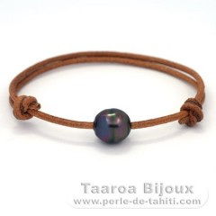 Leather Bracelet and 1 Tahitian Pearl Ringed C 10.6 mm