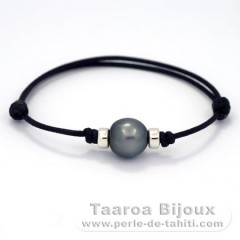 Waxed Cotton Bracelet and 1 Tahitian Pearl Semi-Baroque C 11.5 mm