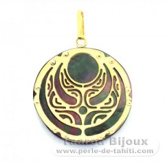 18K Gold and Tahitian Mother-of-Pearl Pendant - Diameter = 21 mm - Power