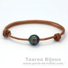 Leather Bracelet and 1 Tahitian Pearl Ringed C 10.5 mm