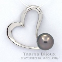 Rhodiated Sterling Silver Pendant and 1 Tahitian Pearl Semi-Baroque B 10.3 mm