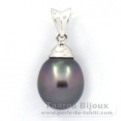 Rhodiated Sterling Silver Pendant and 1 Tahitian Pearl Semi-Baroque B 9.6 mm
