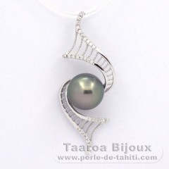 Rhodiated Sterling Silver Pendant and 1 Tahitian Pearl Round C 10.1 mm