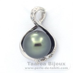 Rhodiated Sterling Silver Pendant and 1 Tahitian Pearl Semi-Baroque B 10.8 mm